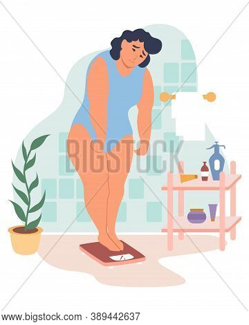 Obesity And Weight Problems. Sad Overweight Woman Standing On Weight Scale, Flat Vector Illustration