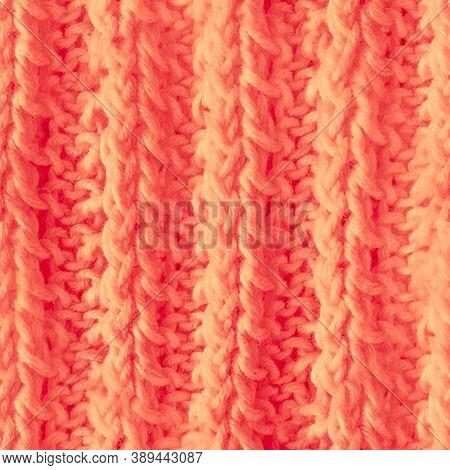 Seamless Scandinavian Knitting. Knitwear Texture. Orange Wool Thread. Vintage Holiday Carpet. Winter