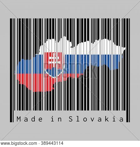 Barcode Set The Shape To Slovakia Map Outline And The Color Of Slovakia Flag On Black Barcode With G