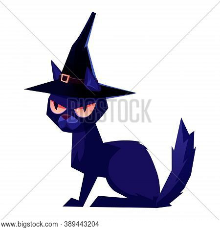 Black Cat Wearing A Witch Hat. Halloween Illustration Vector
