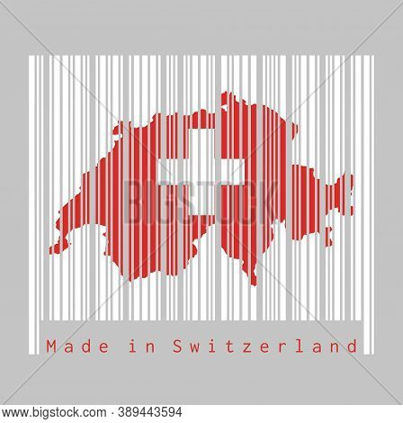 Barcode Set The Shape To Switzerland Map Outline And The Color Of Switzerland Flag On White Barcode