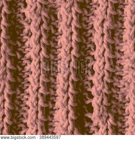 Seamless Wool Texture Pattern. Handmade Sweater. Beige Knitting Textile. Vintage Christmas Cloth. Br