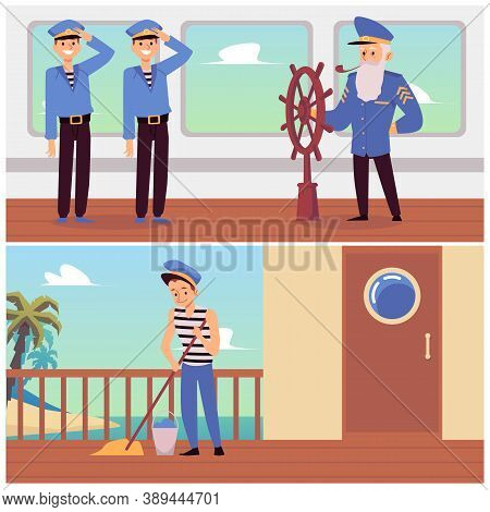 Set Of Banners With Ship Crew Working On Deck Flat Vector Illustration.