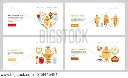 Samovar And Russian Traditional Cuisine - Website Banner Set