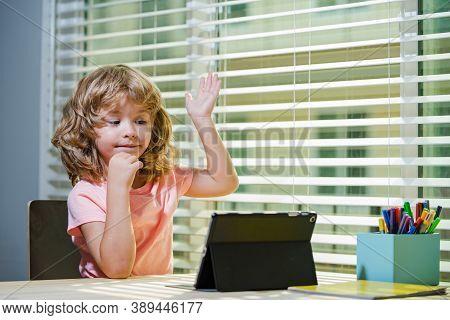 Cute Kid Use Tablet, Have Web Lesson On Quarantine, Homeschooling Concept. Self-education, Quarantin
