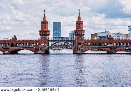 Oberbaumbrucke Across The Spree, The Longest Bridge Of Berlin In Germany