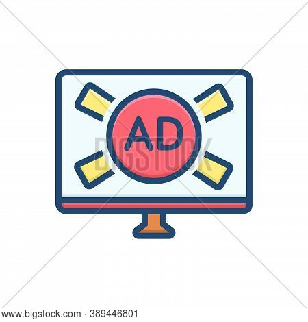 Color Illustration Icon For Tv-ads Advertisement Broadcasting Marketing Promotion Television Technol