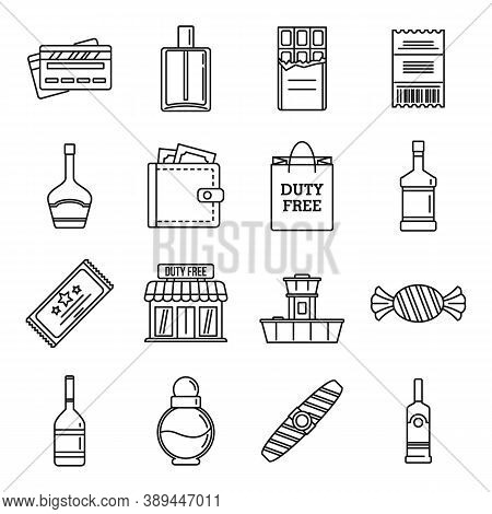 Travel Duty Free Shop Icons Set. Outline Set Of Travel Duty Free Shop Vector Icons For Web Design Is