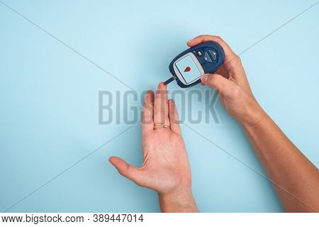 Healthy Lifestyle Concept. Health Care. Medical Diabetes Meter Equipment. Top View Of Glucose Blood