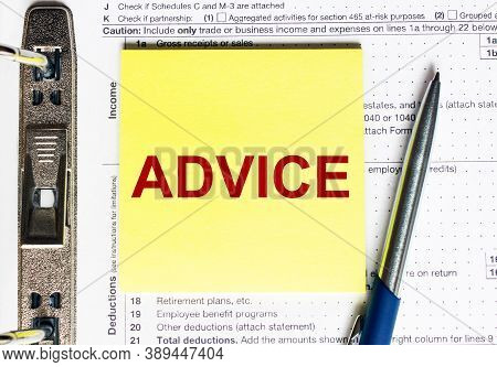 Yellow Paper With Text Advice. Business Concept.