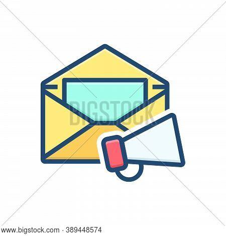 Color Illustration Icon For E-mail-marketing  Email Promotion Loudspeaker Megaphone Publicity Commun