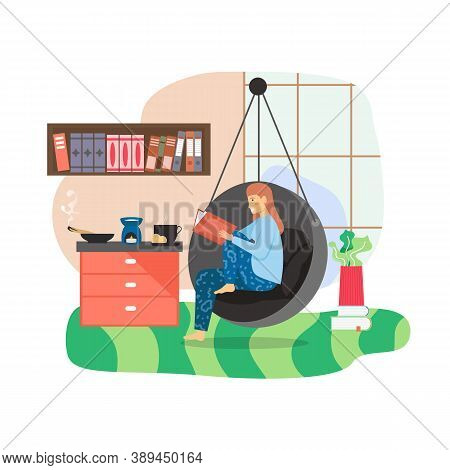 Happy Woman Spending Free Time At Home. Girl Enjoying Reading Book Sitting In Hanging Chair, Flat Ve