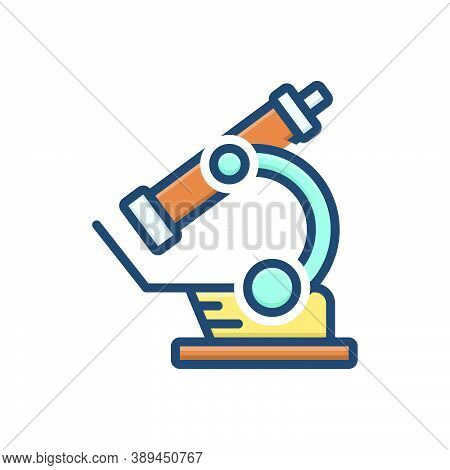 Color Illustration Icon For Microscope Instrument Laboratory Magnify Pharmacology Experiment Scienti