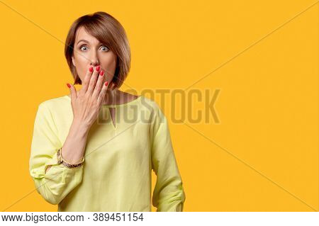 Shocked Woman. Special Offer. Omg Impossible. Sale Discount. Portrait Of Overwhelmed Mature Lady In