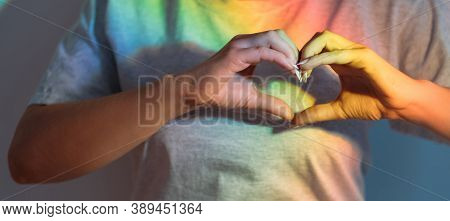 Love Sign. Support Compassion. Lgbt Pride. Admiration Sympathy. Woman Hands Showing Heart Gesture On