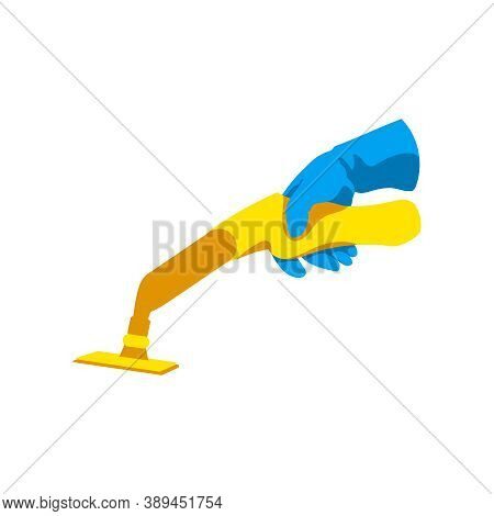 Hand With Vacuum Cleaner. Cleaning Service, Housework, Hygiene Cleanup Chores Concept Cartoon Vector