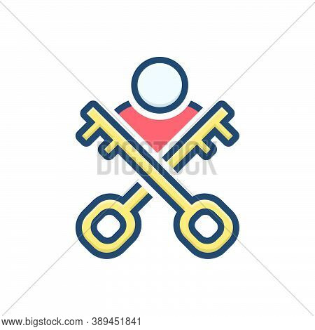 Color Illustration Icon For Authenticate Key-person Key Person Modern Authority Access Admin User Pr