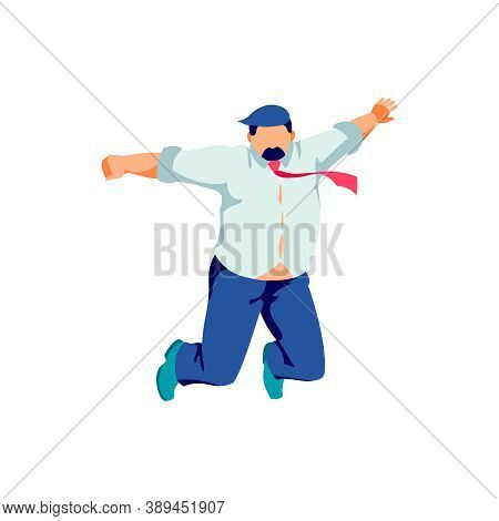 Happy Plump Businessman Jumping In Air. Positive Excited Male Person Celebrating Success And Victory