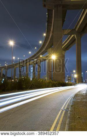Elevated Highway Or Bridge At Night In Hong Kong