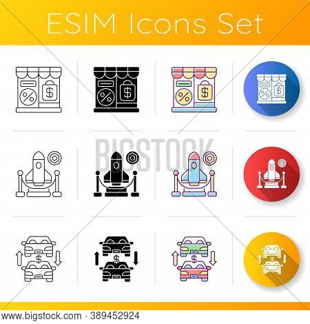 Trading Business Icons Set. Linear, Black And Rgb Color Styles. Retail Services, Different Commercia