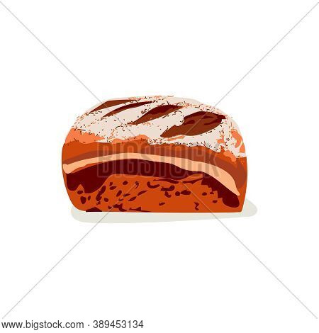 Whole Rye Bread. Freshly Baked Nutritious Pastry Product. Traditional Brown Rustic Bread Flat Vector