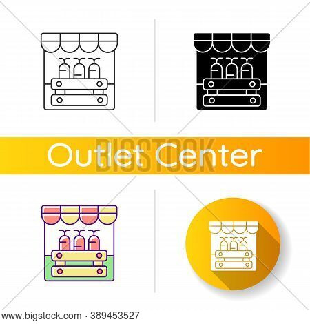Farmers Market Icon. Linear Black And Rgb Color Styles. Grocery Shopping, Local Marketplace. Street