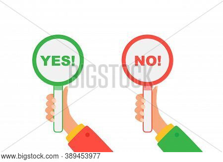 Yes And No Signs. Hands Hold Signboard Yes And No. Concept Of Choice, Voting, And Dilemma.