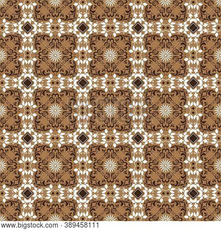 Elegant Pattern On Solo Batik Design With Soft White Mocca Color Design.