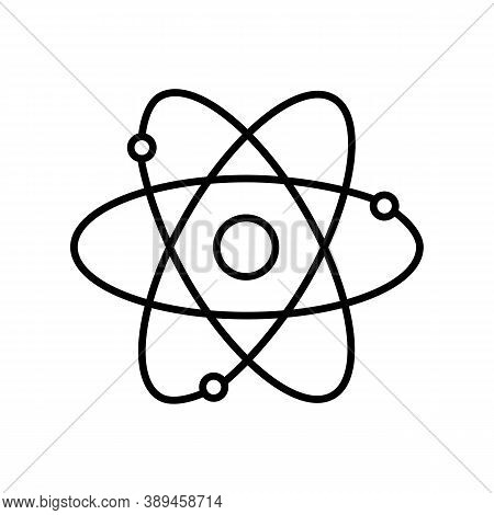 Atom Outline Icon. Black And White Vector Item From Set, Dedicated To Science And Technology.
