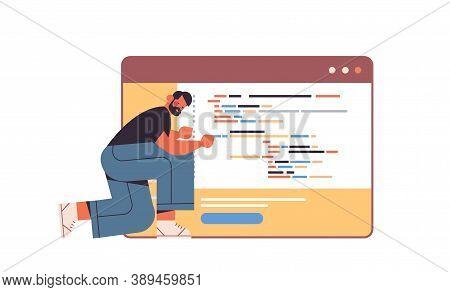 Web Developer Creating Program Code Development Of Software And Programming Concept Full Length Hori