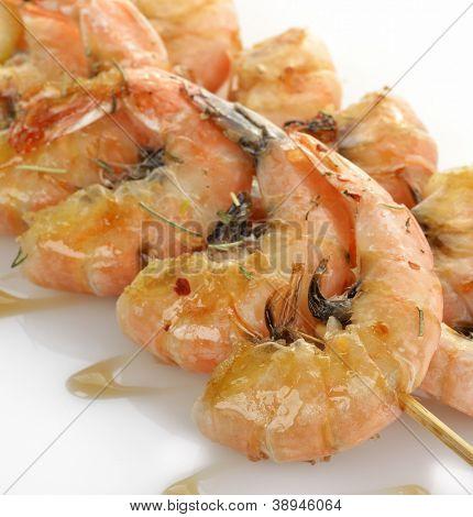 Fresh Grilled Shrimps,Close Up