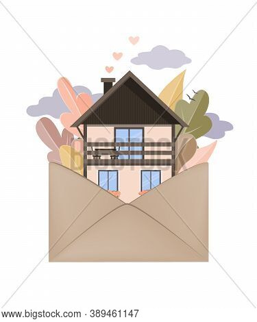Autumn Forest And House In Envelope. Hygge Autumn And Cosy Home Concept. Vector Illustration