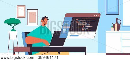 Male Web Developer Using Laptop Creating Program Code Development Of Software And Programming Concep