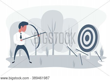 Businessman Loser With Archery. Not Hit Target, Arrows Around. Sad Male Character Aiming Target With