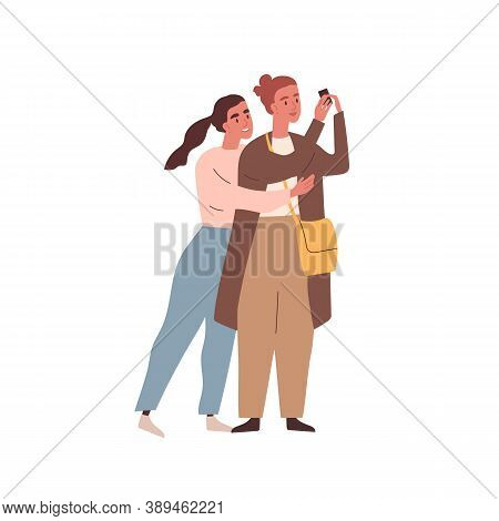 Female Couple Or Friends Cuddling And Photographing Together. Women Hugging And Taking Selfie. Homos