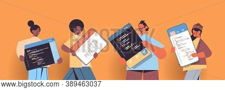 Mix Race Web Developers Creating Program Code Development Of Software And Programming Concept Portra