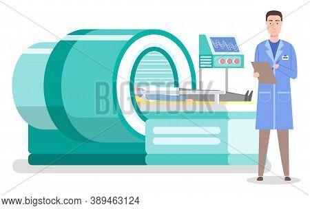 Magnetic Resonance Imaging Concept. Laboratory Diagnostics. Man Patient Lying At Tomography Machine.