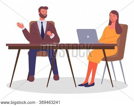 Office Workers. Colleagues Communicating. Executive Businessman Talking With Woman Sitting At Table,