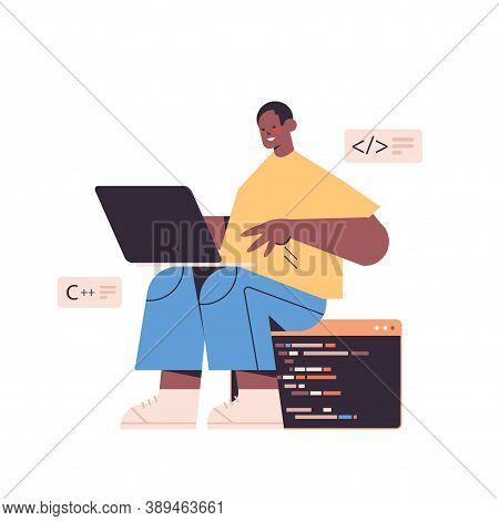 Web Developer Using Laptop Creating Program Code Development Of Software And Programming Concept Ful