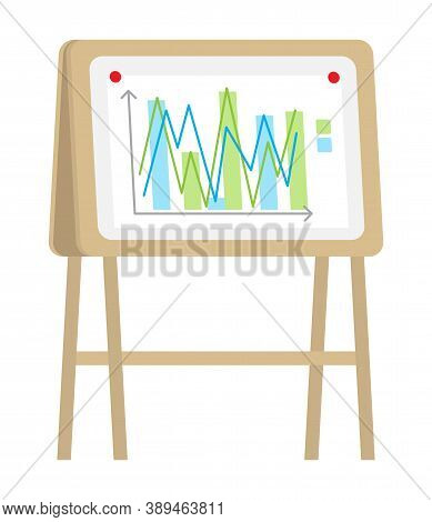 Vector Icon Of Wooden Flipchart With Chart, Graphs, Data, Arrows, Infographics. Business Presentatio
