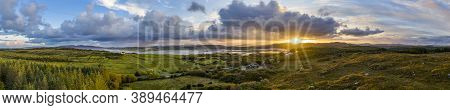 Aerial Panorama Of Ballyiriston And Maas In County Donegal - Ireland.