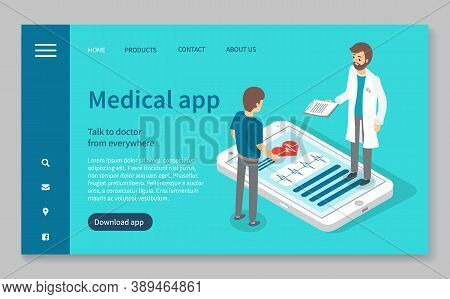 Template Of Landing Page Medical Website. Online Consultation With Doctor. Doctor And Patient. Remot
