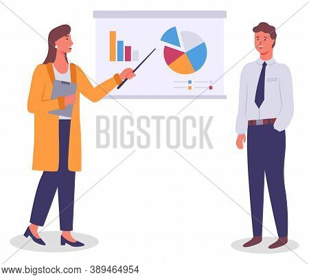 Presentation At Board, Businesswoman Show Charts And Diagram To Colleague, Analysing Graphics On Whi