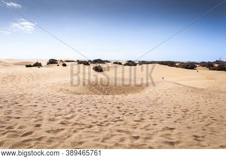 Maspalomas - February 19, 2017: Coastal Dunes In Maspalomas Beach, In Maspalomas, Gran Canaria Islan