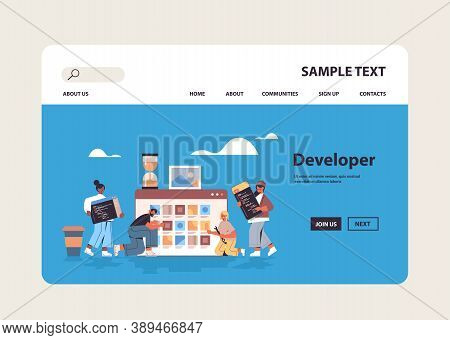 Mix Race Web Developers Testing New App Features Coding Together Application Development Software Pr