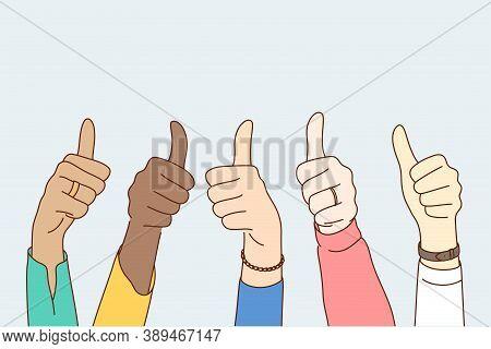 Success, Approval, Goal Achievement, Multiethnicity Concept. Group Multiethnic People Happy Clients