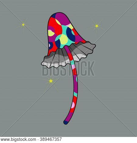 Psilocybin Mushroom Icon, Black Silhouette In Flat Cartoon Style, Hand Drawn Psychedelic Colored Ill
