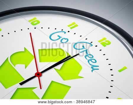 An image of a nice clock with Go Green
