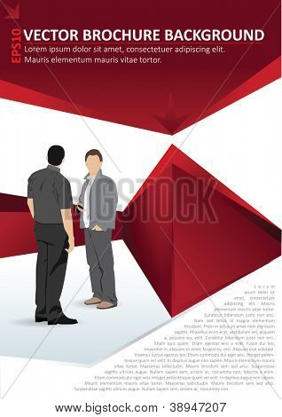 Red vector background brochure with two men discussing