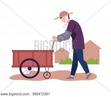 Asian Male Farmer Pushing Hand Barrow Or Handcart Vector Illustration